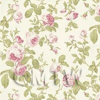 Pack of 5 Dolls House Pink Vintage Trailing Rose Wallpaper Sheets