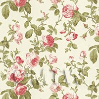 Dolls House Miniature Dark Pink And Red Vintage Trailing Rose Wallpaper