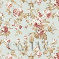 Pack of 5 Dolls House Pale Red On Duck Egg Blue Trailing Rose Wallpaper Sheets