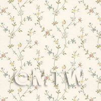 Dolls House Tiny Mixed Pastels Trailing Meadow Flower Wallpaper