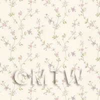 Dolls House Tiny Pastel Pink And Mauve Trailing Meadow Flower Wallpaper