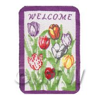 Dolls House Tulip Decorated Welcome Mat (WM6)