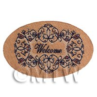 Dolls House Miniature Oval Welcome Mat Ornate Design (NW6)