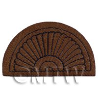Dolls House Miniature 65mm Half Moon Brown Ornate Welcome Mat (NW11)
