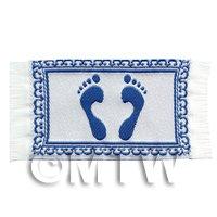 Dolls House Miniature Blue Feet Welcome / Bathroom Mat (NW15)