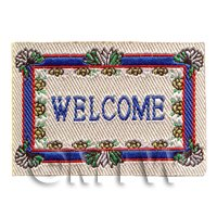 Dolls House Miniature 52mm Blue And White Welcome Mat (NW17)