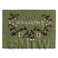 Dolls House 45mm Green Welcome Mat With Floral Design (NW19)
