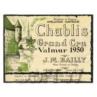 Miniature French Chablis Grand Cru White Wine Label (1950 Vintage)