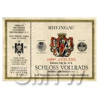Miniature German Schloss Vollrads White Wine Label (1949 Vintage)
