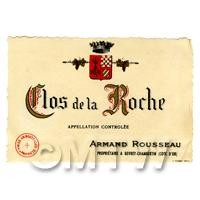 Miniature French Clos De La Roche White Wine Label