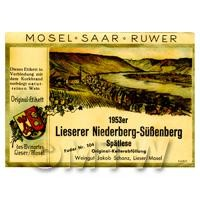 Miniature German Lieserer Niederberg Subenberg Red Wine Label (1953 Vintage)