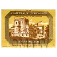 Miniature French Chateau Ducru Beaucaillou Red Wine Label (1978 Vintage)