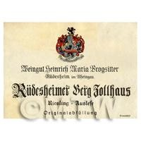 Miniature German Rudesheimer Berg Dollhaus White Wine Label