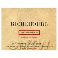 Miniature French Richebourg Red Wine Label