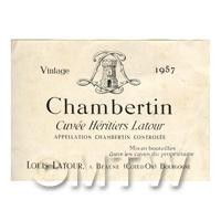 Miniature French Chablis Grand Jra White Wine Label (1957 Vintage)