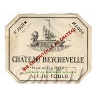 Miniature French Chateau Beychevelle White Wine Label (1950 Vintage)