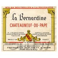 Miniature French La Bernardine White Wine Label