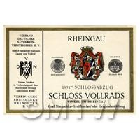Miniature German Rheingau White Wine Label (1951 Vintage)