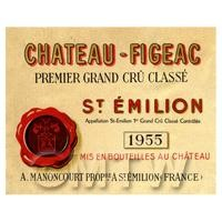 Miniature French Chateau Figeac Red Wine Label (1955 Vintage)