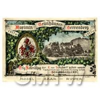 Miniature German Marimin Grunhauser Herrenberg White Wine Label (1950 Vintage)