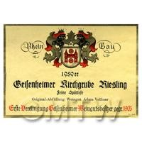 Miniature German Kiesgrube Riesling  White Wine Label (1959 Vintage)
