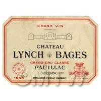 Miniature French Chateau Lynch Bages White Wine Label (1955 Vintage)