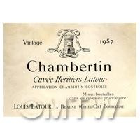 Miniature French Chambertin White Wine Label (1957 Vintage)