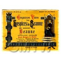 Miniature French Burgundy Red Wine Label