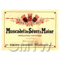 Miniature French Muscadet de Sevre Maine White Wine Label