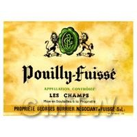 Miniature French Pouilly Fuisse White Wine Label