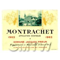 Miniature French Montrachet White Wine Label (1962 Vintage)