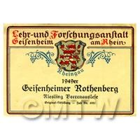 Miniature German Geifenheimer Rothenberg White Wine Label (1949 Vintage)