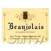 Miniature French Beaujolais White Wine Label