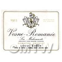 Miniature French Vosne Romanee Red Wine Label (1955 Vintage)