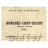 Miniature French Romanee Saint Vivant White Wine Label (1948 Vintage)