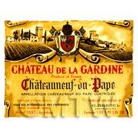 Miniature French Chateau De La Gardine Red Wine Label