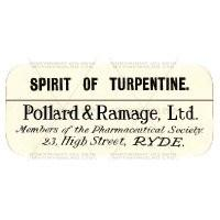 Spirit Of Turpentine Miniature Apothecary Label