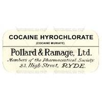 Cocaine Hydrochlorate Miniature Apothecary Label