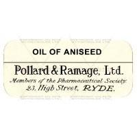 Oil Of Aniseed Miniature Apothecary Label