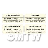 4 Dolls House Miniature Apothecary Labels - Bulk Jar Set SB1