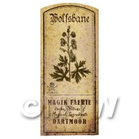 Dolls House Herbalist/Apothecary Wolfsbane Herb Short Sepia Label