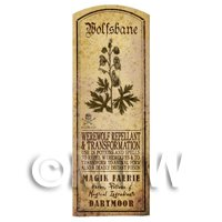 Dolls House Herbalist/Apothecary Wolfsbane Herb Long Sepia Label