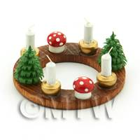 Dolls House Garland With Trees, Candles And Mushrooms