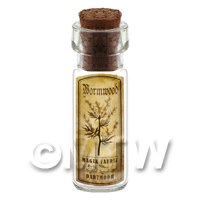 Dolls House Apothecary Wormwood Herb Short Sepia Label And Bottle