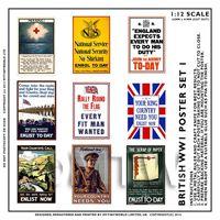 Dolls House Miniature World War One Set of 9 Posters - Set 1