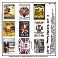Dolls House Miniature World War One Set of 9 Posters - Set 10