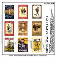 Dolls House Miniature World War One Set of 9 Posters - Set 2