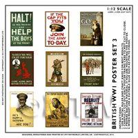 Dolls House Miniature World War One Set of 9 Posters - Set 3
