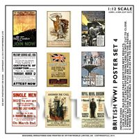 1/12th scale - Dolls House Miniature World War One Set of 9 Posters - Set 4