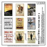 Dolls House Miniature World War One Set of 9 Posters - Set 4